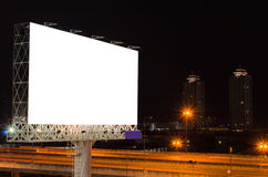 Blank billboard at twilight time for advertisement Royalty Free Stock Photos