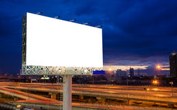 Blank billboard at twilight time for advertisement Royalty Free Stock Photography