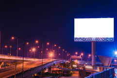 Blank billboard at twilight time for advertisement.  Stock Photo