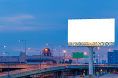 Blank billboard at twilight time for advertisement Stock Images