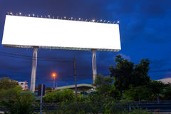 Blank billboard at twilight time ready for new advertisement Royalty Free Stock Photography