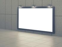 Blank billboard in underground hall Royalty Free Stock Photos