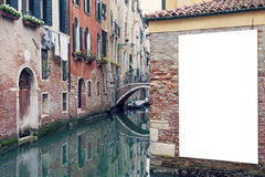 Blank billboard in Venice Royalty Free Stock Photo