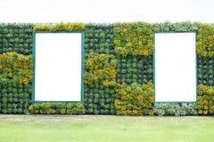 Blank billboard in vertical tropical garden Royalty Free Stock Photo
