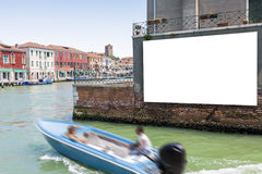 Blank billboard on the wall in Venice. Blank billboard with copy space on the wall in Venice, Italy royalty free stock photos
