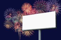 Blank Billboard With Firework Background Royalty Free Stock Photography
