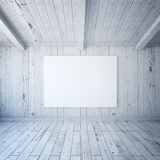 Blank billboard in wooden interior Stock Images