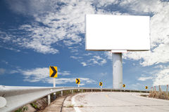 Blank billboard for your advertisement on road curve. Stock Image