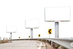 Blank billboard for your advertisement on road curve. on white b Stock Photo