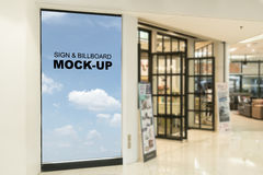 Blank billboards located in shopping mall or retail shop, useful for your advertising. With clipping path Stock Photo