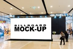 Blank billboards located in shopping mall. Or retail shop, useful for your advertising, with clipping path Royalty Free Stock Images