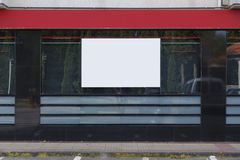 Blank billboards mock up. In a bank office stock photo