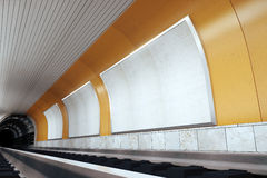 Blank billboards on orange wall in subway, mock up. 3D render Stock Photography