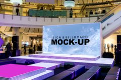 Blank billboards on stage located in shopping mall. Useful for your advertising, with clipping path Stock Images