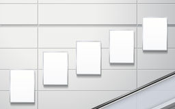 Blank billboards on the wall Royalty Free Stock Image