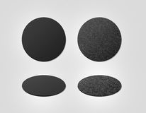 Blank Black And Cork Textured Beer Coasters Mockup, Clipping Path Royalty Free Stock Photo