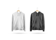 Free Blank Black And White Sweatshirt Mockup Hanging On Wooden Hanger Royalty Free Stock Photography - 89510707