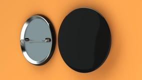 Blank black badge on orange background. Pin button mockup. 3D rendering illustration Stock Photography