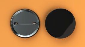 Blank black badge on orange background. Pin button mockup. 3D rendering illustration Royalty Free Stock Image