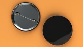Blank black badge on orange background. Pin button mockup. 3D rendering illustration Royalty Free Stock Photos