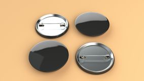 Blank black badge on orange background. Pin button mockup. 3D rendering illustration Stock Image