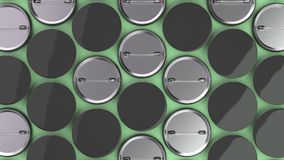 Blank black badges on green background. Pin button mockup. 3D rendering illustration Stock Image