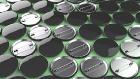 Blank black badges on green background. Pin button mockup. 3D rendering illustration Royalty Free Stock Photo