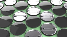 Blank black badges on green background. Pin button mockup. 3D rendering illustration Stock Photos