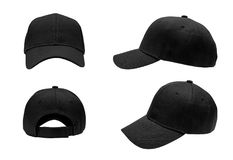 Blank black baseball cap,hat 4 view. Blank black baseball cap, hat 4 view on white background Royalty Free Stock Image