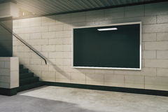 Blank black billboard in subway Stock Photography