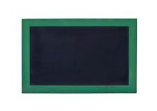 Blank black board with green frame on a white background Stock Photos