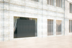 Blank black board in the window of building, mock up, 3D Render Royalty Free Stock Images