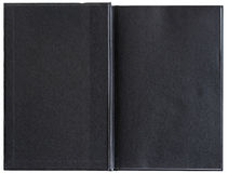 Blank black book opened to the first page. Stock Photography