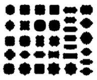 Blank black borders and frames collection, elegant decorative dashed vignette sign, handdrawn oval. Blank black borders and frames silhouettes collection royalty free illustration