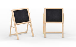 Blank black chalkboard stand with wooden frame, clipping path i Stock Photos