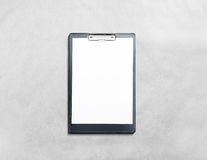 Blank black clipboard with white pages mockup Royalty Free Stock Photography