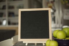Blank, black felt board for quotes stock photo