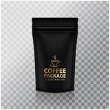 Blank Black Foil Coffee Doy Pack Pouch Sachet Bag Packaging with Zipper. Vector  Mock up temlate. For your design Royalty Free Stock Photography