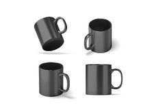 Blank black glass mug mock ups set ,. 3d rendering. Clear grey 11 oz coffee cup mock up for sublimation printing. Empty gift dark pint set branding template Royalty Free Stock Photos