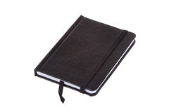 Blank black leather cover notebook, isolated on white Royalty Free Stock Photography