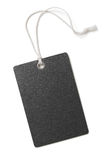 Blank black paper price or gift tag isolated. On white royalty free stock images