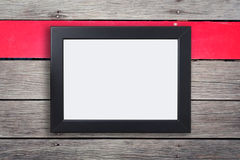 Blank Black photo frame on rustic wood red stripe Royalty Free Stock Photography