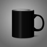 Blank black photo realistic isolated on gray cup,. For branding and your design. Vector illustration Stock Images