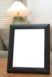 Blank black picture frame. Black picture frame ready for custom picture to be added royalty free stock photos
