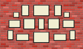 Blank black picture frame on the brick wall. Blank black picture frame on red brick wall Stock Images