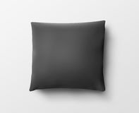 Blank black pillow case design mockup, isolated, clipping path, 3d illustration. Royalty Free Stock Image