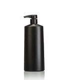 Blank black pump plastic bottle used for shampoo or soap. Studio Stock Photos