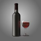 Blank black realistic bottle for red wine with Royalty Free Stock Images