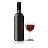 Blank black realistic bottle for red wine with Royalty Free Stock Image