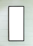 Blank Black Rectangle Frame on Modern Style White Stripe Line Wall Royalty Free Stock Images